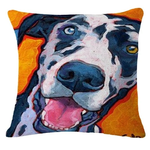 Image of a goofy Dalmatian cushion cover in dalmatian theme, made of Linen / Cotton