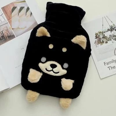 Image of a black color hot water bottle in the shape of a husky dog