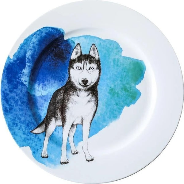 Image of a dinner plate, with a standing siberian husky design