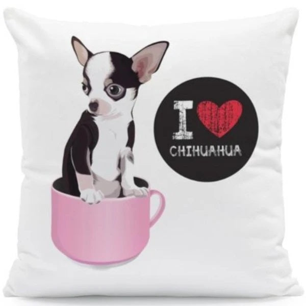 Image of a chihuahua Cushion Cover with 'I <3 Chihuahua' text, made of Polyester / Linen / Velvet Feel