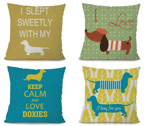 Image of four dachshund printed cushion covers and with some text written, made of Linen / Cotton