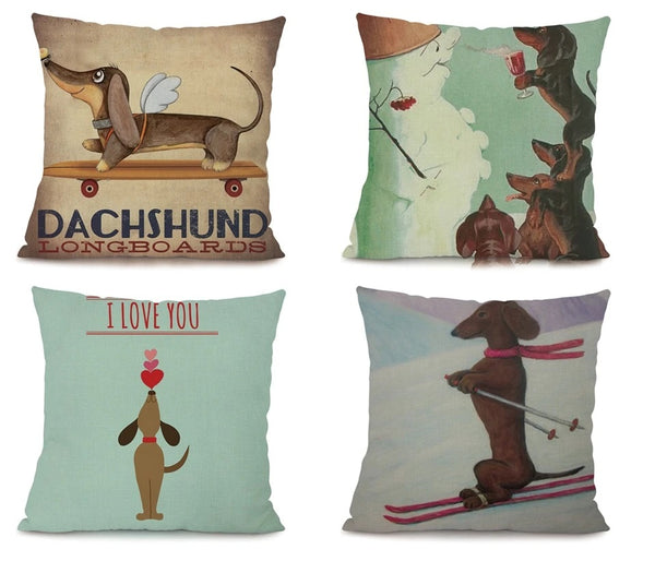 Image of four dachshund printed cushion covers, made of Linen / Cotton
