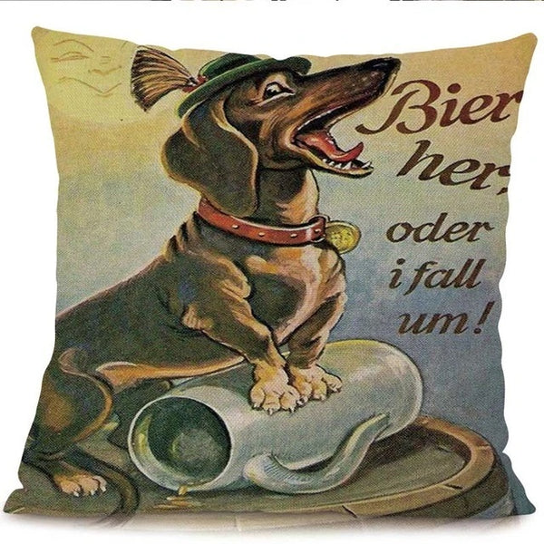 Image of a dachshund printed cushion cover with the text written 'Bier her, oder i fall um!', made of Linen / Cotton