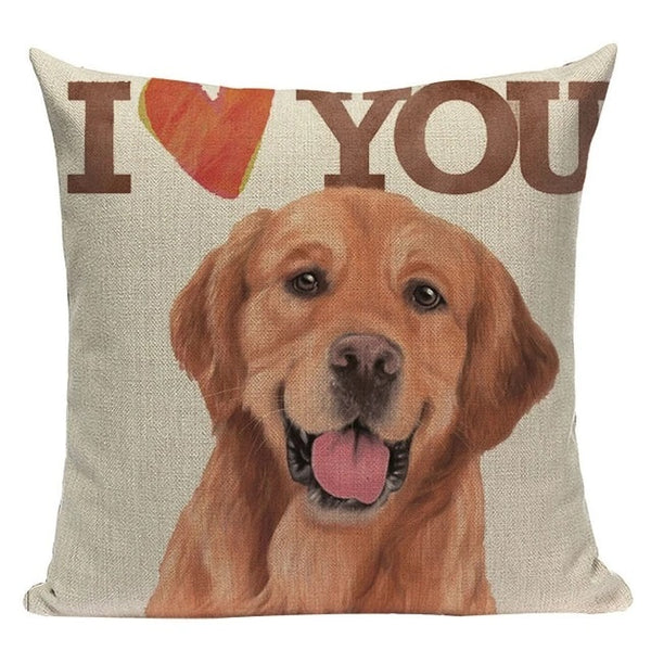 Image of a smiling Golden Retriever Cushion Cover with 'I <3 You' text, made of cotton and linen