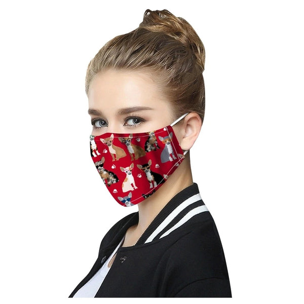 Image of a girl wearing red color face mask of a chihuahua print, made of Cotton & Polyester