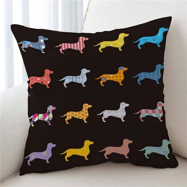 Image of a cutest infinite dachshund print cushion cover with black background, made of soft microfiber