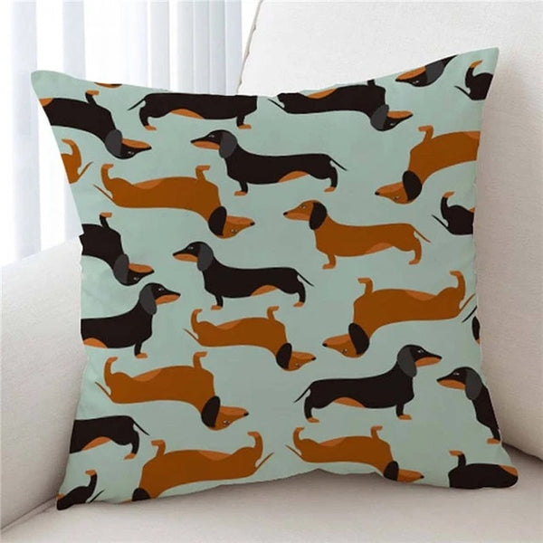 Image of a cutest infinite dachshund print cushion cover with green background, made of soft microfiber
