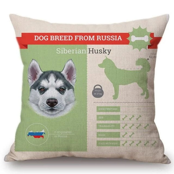 Image of a Husky printed cushion cover made of Cotton and Linen