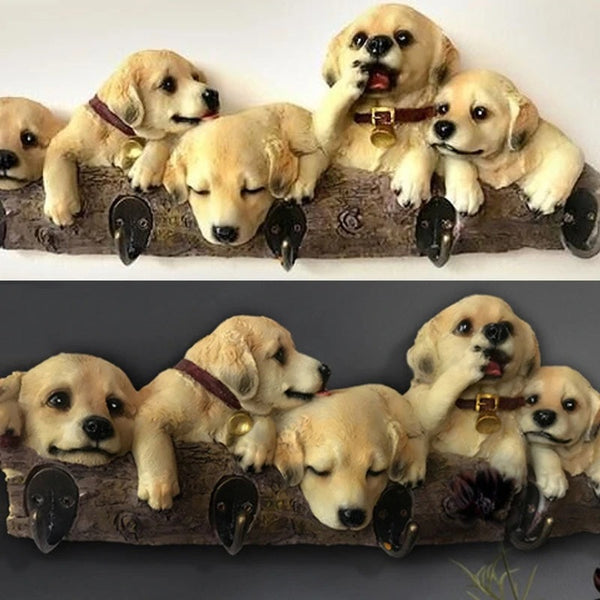 Image of five yellow labrador retriever handing on a wall hook