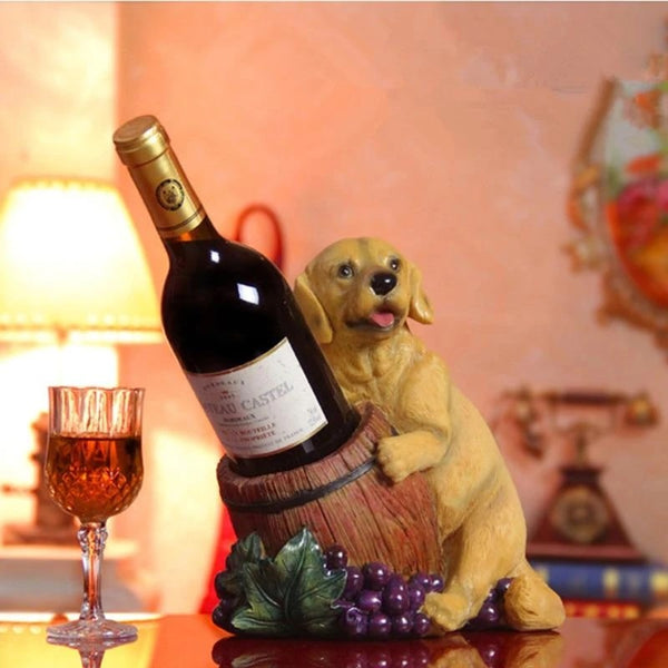 Image of a Labrador / Golden Retriever Statue on the table holding wine bottle, made of resin and silicone