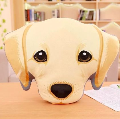 Image of a stuffed sofa cushion pillow in the shape of a labrador retriever face