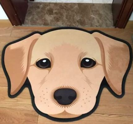 Image of a floor rug on a wooden floor at the entrance of a door in the shape of a cute yellow labrador retriever's face