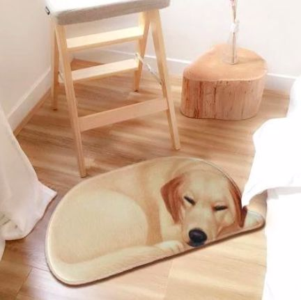 Image of a floor rug on a wooden floor in the shape of a sleeping labrador retriever