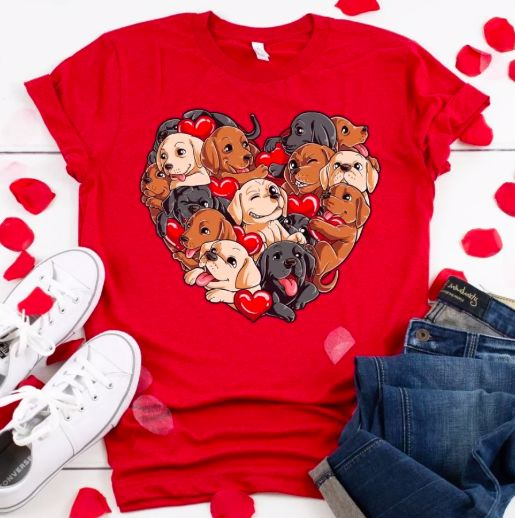 Image of a red t shirt with labradors in all colors in a heart design