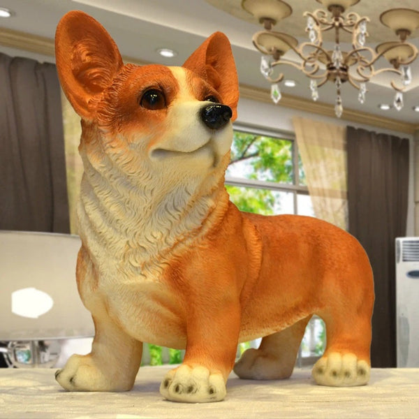 Image of a Corgi Statue in red color made of resin