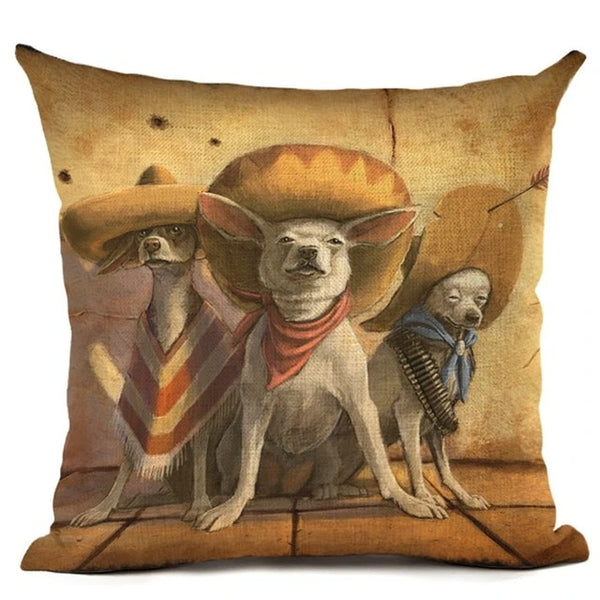 Image of an oil painting themed Chihuahua Bandidos print cushion cover, made of Linen / Cotton