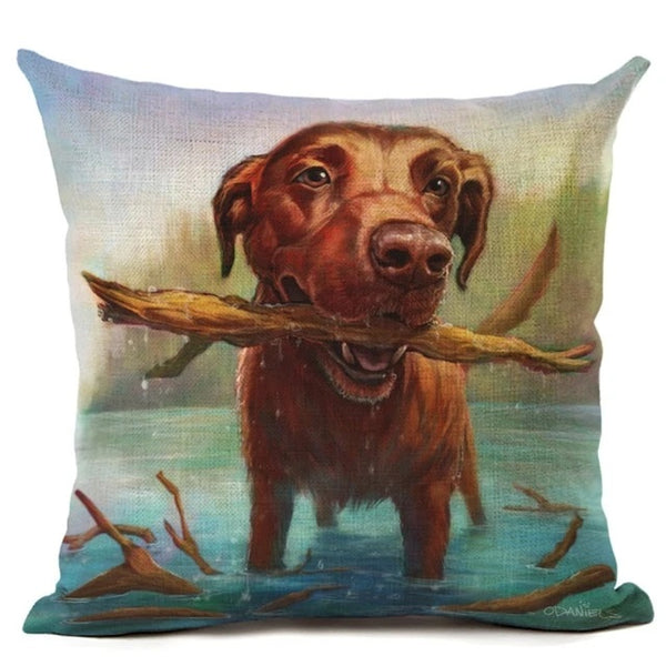 Image of an oil painting themed chocolate labrador printed cushion cover, made of Linen / Cotton