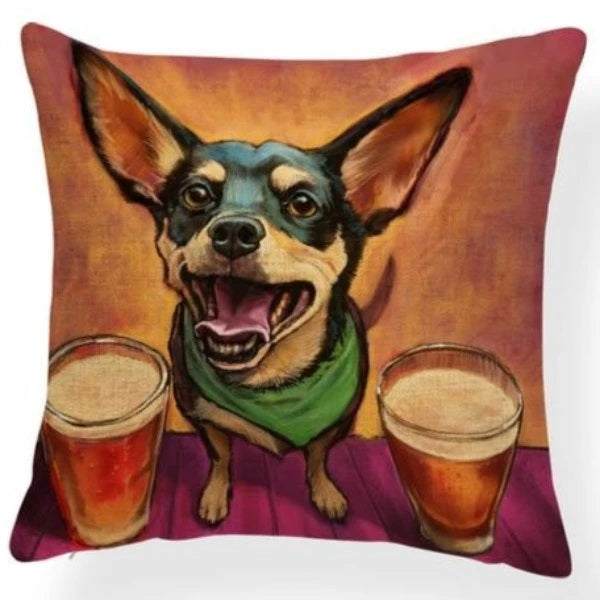 Image of an oil painting double drinks Chihuahua themed design print cushion cover, made of Polyester / Linen