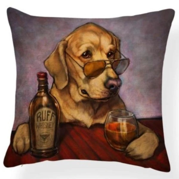 Image of an oil painting whiskey lovers Labrador Retriever themed design print cushion cover, made of Polyester / Linen