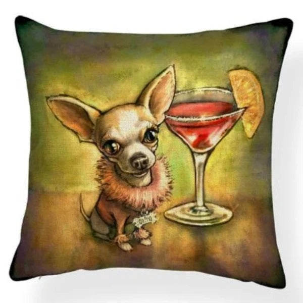 Image of an oil painting Margarita Chihuahua print cushion cover, made of Polyester / Linen