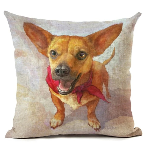 Image of an oil painting Red Scarf Fawn Chihuahua print cushion cover, made of Linen / Cotton