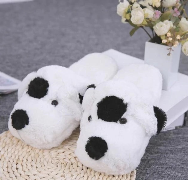 Image of one spot indoor dalmatian shoes in the color black and white made of flock fabric upper, soft plush lining and TPR outsole
