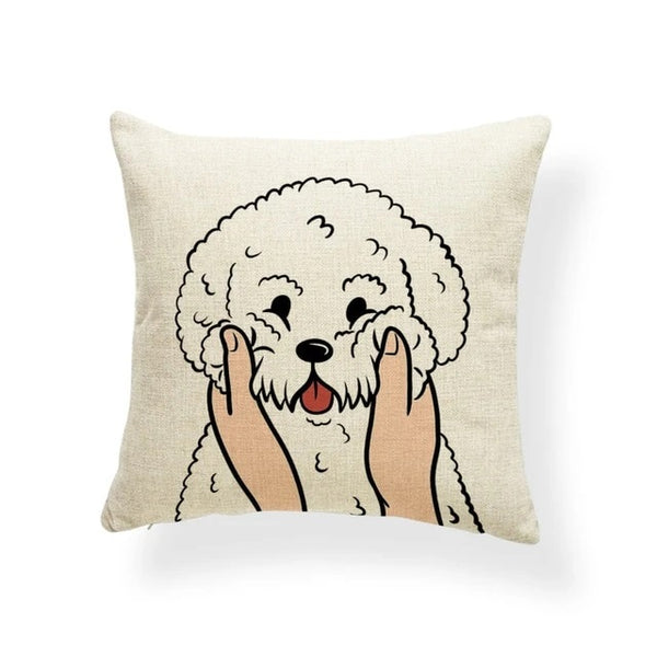 Image of a Bichon Frise Cushion Cover in which his or her cheeks getting pulled print in beige color, made of polester, linen and cotton