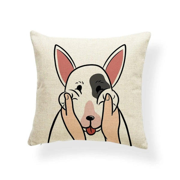 Image of a Bull Terrier Cushion Cover in which his or her cheeks getting pulled print in beige color, made of polester, linen and cotton