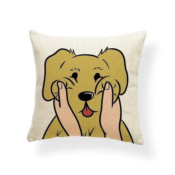 Image of a Golden Retriever Cushion Cover in which his or her cheeks getting pulled print in beige color, made of polester, linen and cotton