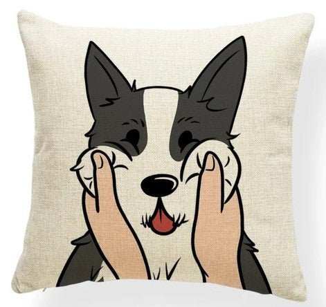 Image of a husky Cushion Cover in which his or her cheeks getting pulled, made of polester, linen and cotton