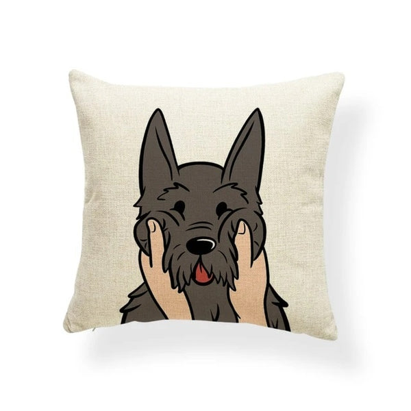 Image of a Schnauzer Cushion Cover in which his or her cheeks getting pulled print in beige color, made of polester, linen and cotton