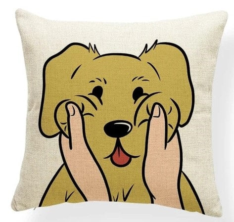 Image of a Yellow Labrador Retriever Cushion Cover in which his or her cheeks getting pulled print in beige color, made of polester, linen and cotton