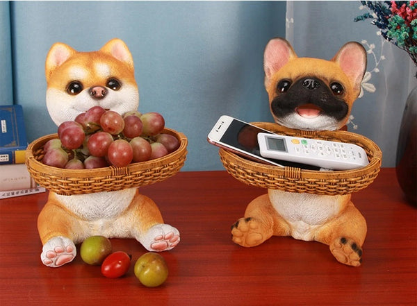 Image of Shiba Inu Statue and French Bulldog Statue sitting on a table and holding basket, made of resin