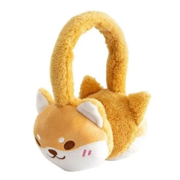 Image of an orange color earmuffs in the shape of a shiba inu made of cotton