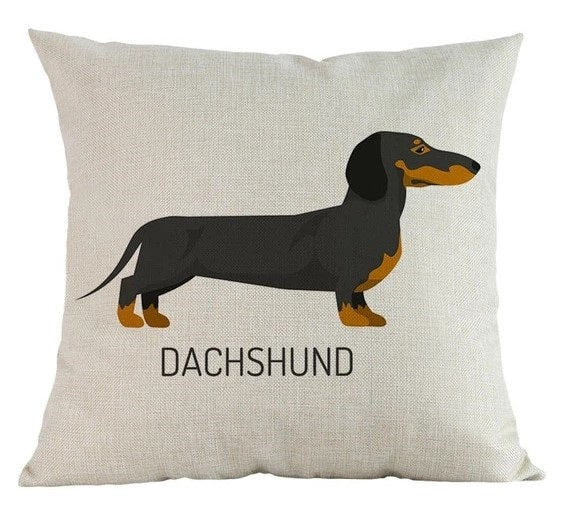 Image of a Dachshund Cushion Cover in white color and a dachshund printed on it, made of linen and cotton