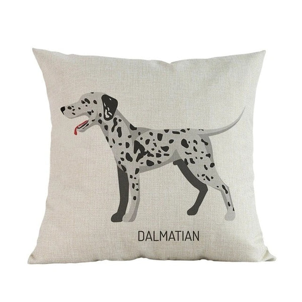 Image of a Dalmatian printed Cushion Cover in white color, made of linen and cotton