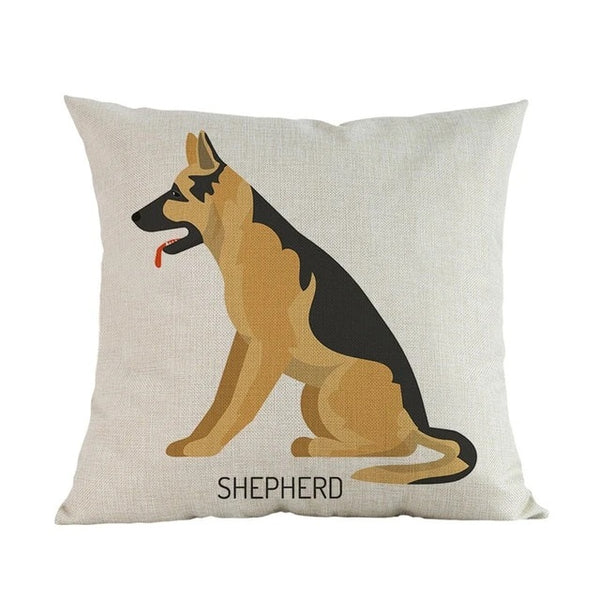 Image of a German Shepherd Cushion Cover in white color and a german shepherd printed on it, made of linen and cotton
