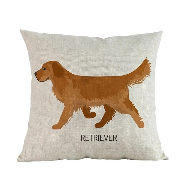 Image of a Golden Retriever Cushion Cover in white color with a german shepherd printed on it, made of linen and cotton