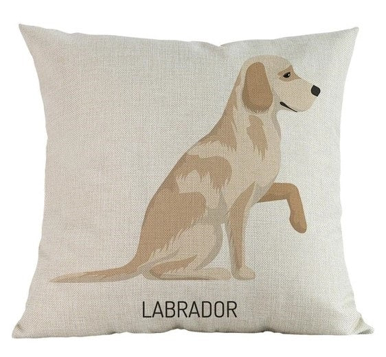 Image of a Yellow Labrador Cushion Cover in white color and a labrador retriever printed on it, made of linen and cotton