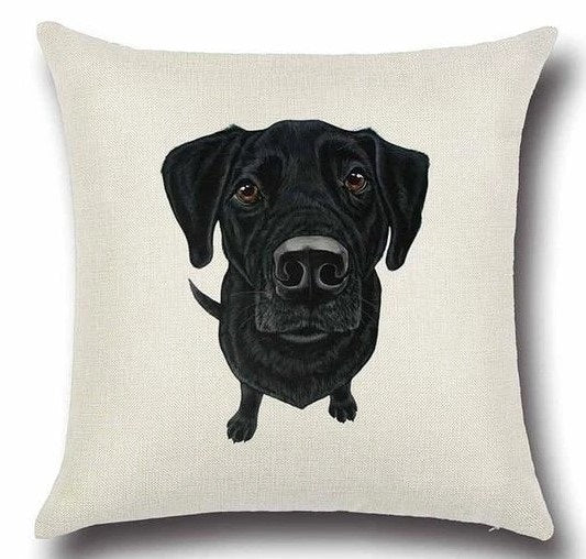 Image of a Black Labrador printed cushion cover in white color background, made of Cotton and Linen
