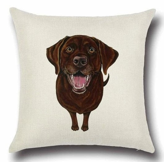 Image of a Chocolate Labrador printed cushion cover in white color background, made of Cotton and Linen