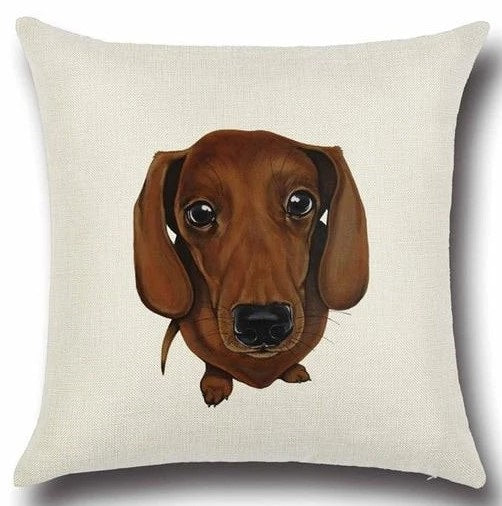 Image of a dachshund printed cushion cover in white color background, made of Cotton and Linen