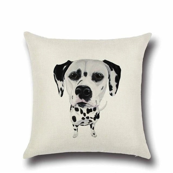 Image of a Dalmatian printed Cushion Cover in white color, made of Cotton and Linen