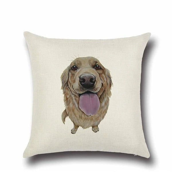 Image of a Golden Retriever Cushion Cover in white color and a german shepherd printed on it, made of Cotton and Linen