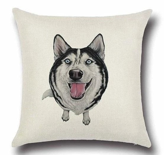 Image of a Husky printed cushion cover in white color background, made of Cotton and Linen