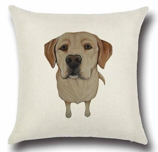 Image of a Yellow Labrador printed cushion cover in white color background, made of Cotton and Linen