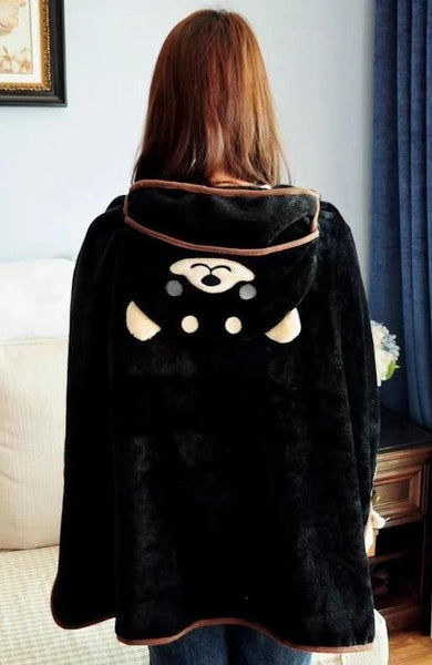 Image of a cloak blanket cape with a husky print in hood