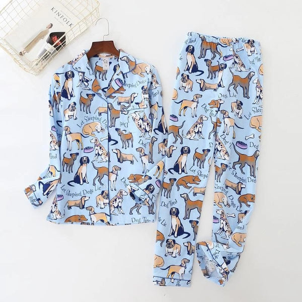 Image of a dalmatian cotton pajama set with several dogs printed on it