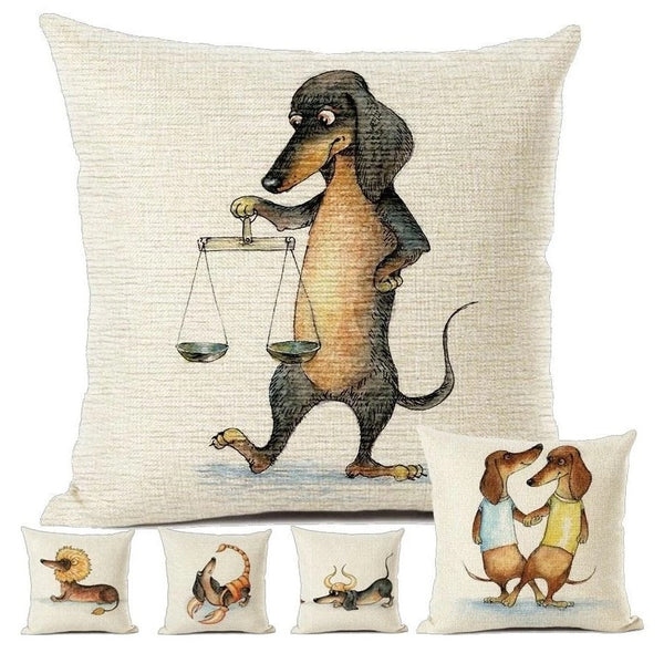 Image of five cute dachshund printed cushion covers made of Linen / Cotton