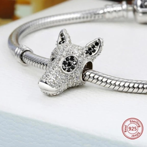 Image of a Bull Terrier silver charm bead in the shape of a bull terrier made of 925 Sterling Silver